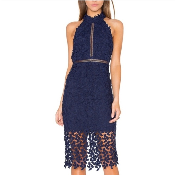 Bardot Gemma Lace Navy Blue Midi Dress Nwt